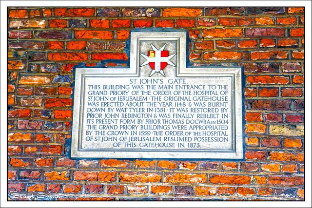 Plaque, St John's Gate, St John's Lane, Clerkenwell, Farringdon, London, England UK