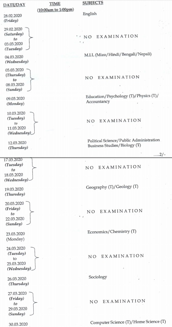 MBSE HSSLC Routine 2020 | Mizoram Class 12th Board New Exam Dates (16 - 18 June)