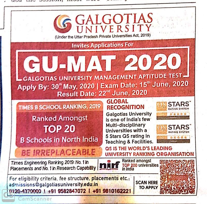GU MAT 2020 In News