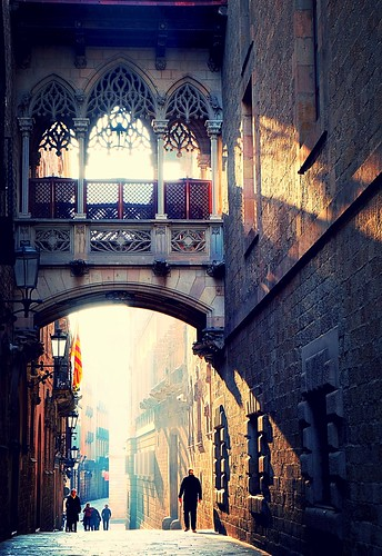 light arch city barcelona buildings sunrise people street spain architecture catalunya urban