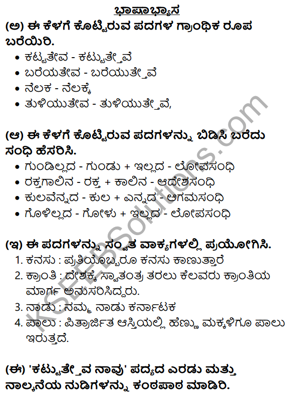 Nudi Kannada Text Book Class 10 Solutions Chapter 2 Kattatheva Navu 8
