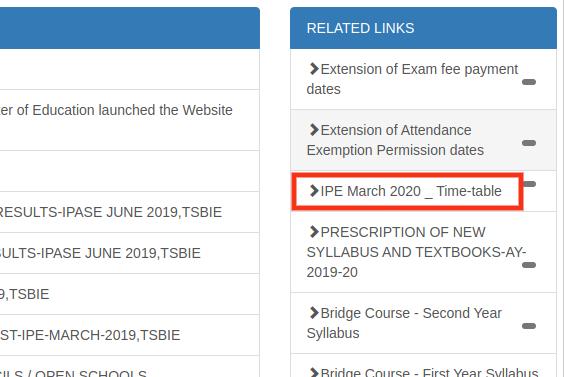 TS Intermediate Time Table 2020