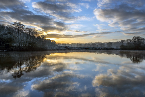 riversevern river worcestershire clouds reflections reflection winter sunrise frost nature