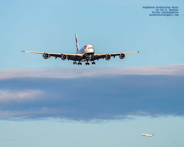 An A380 on Final to YVR While A 777-300ER Lines Up