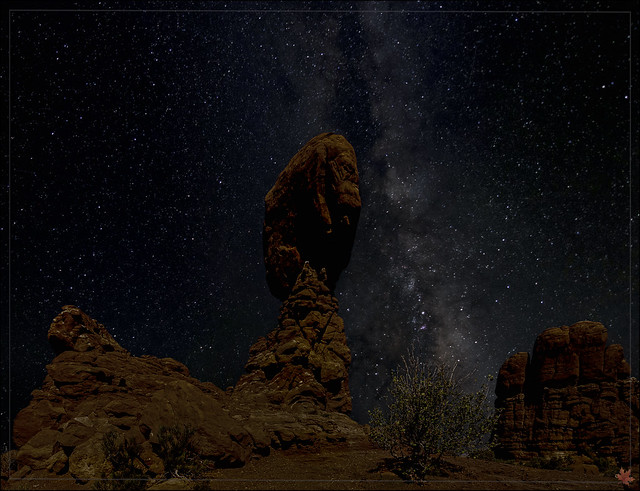 Starry night over Arches NP