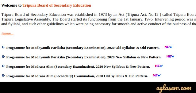 Tripura Madhyamik Routine 2020 (Released) | TBSE Class 10 New Exam Dates 05 - 06 Jun