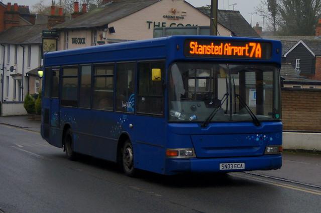 Blue Peril: Trustybus (ex Bluestar 3307) Dennis Dart/Plaxton Pointer MPD SN03ECA Silver Street Stansted Mountfitchet 22/01/20