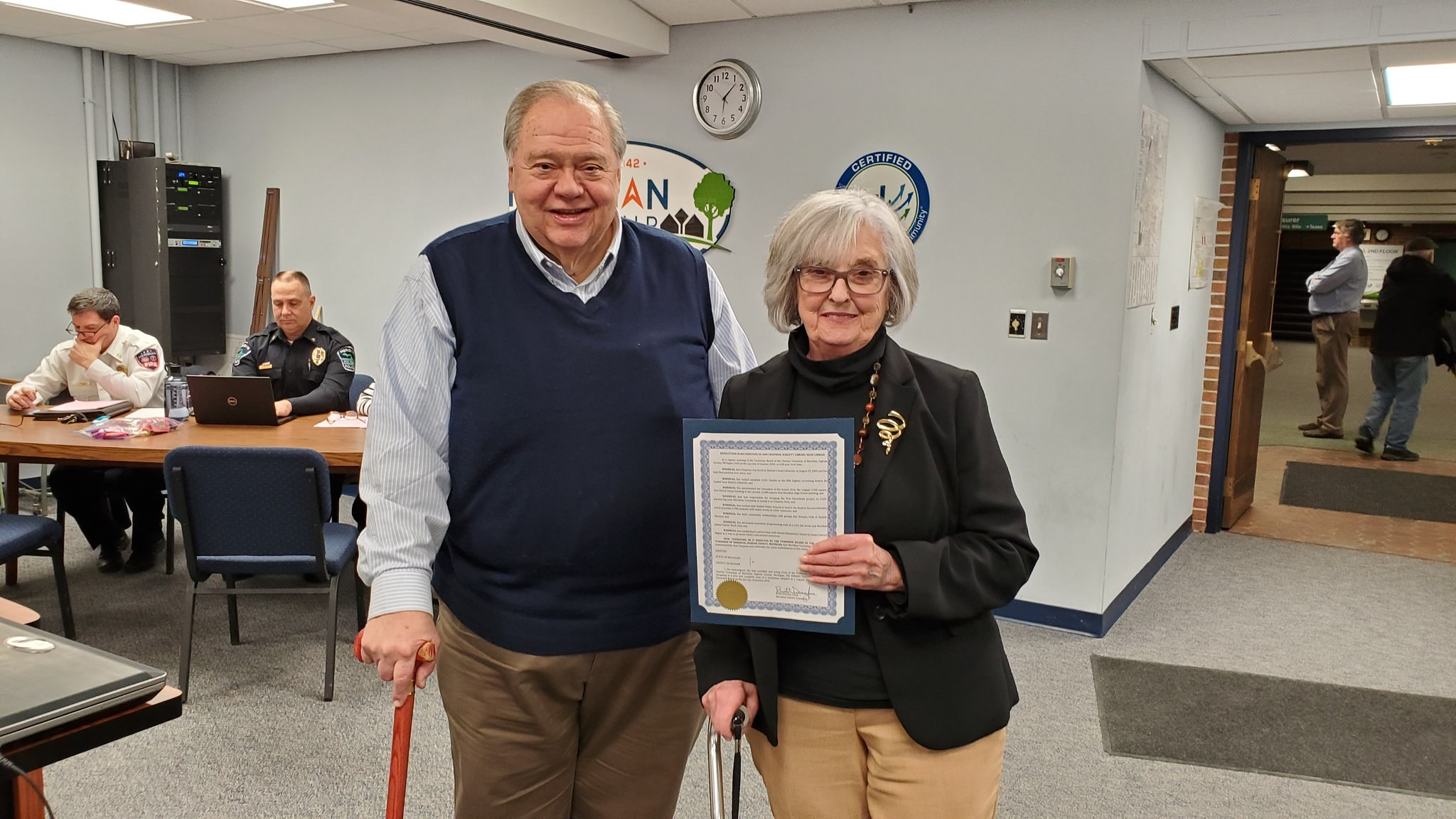 Haslett Library Head Librarian Recognized at Township Board Meeting