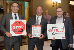Rep. John Fusco, Rep. Craig Fishbein and Rep. David T. Wilson joined anti-toll supporters during their daily gathering and protest at the State Capitol.