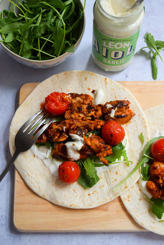 Hot Sauce Chicken Wraps with Garlic Aioli | by missrachelphipps