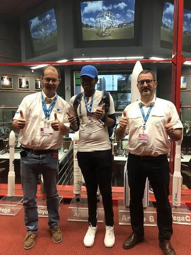 Tanaka Chonyera, DStv Eutelsat star awards essay winner 2018, visiting the Guiana Space Center with Emmanuel Franc and Luca Chiecchio of Arianespace! (from left to the right) | by Eutelsat_SA