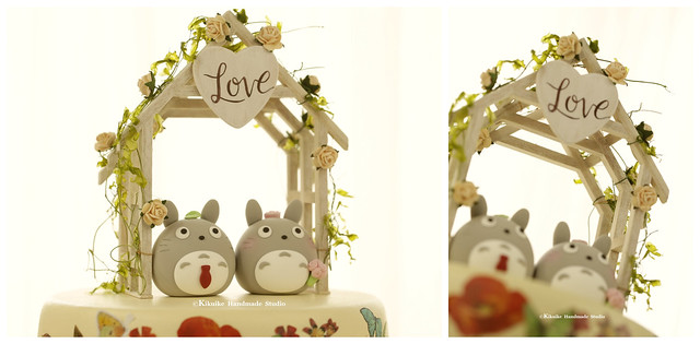 Love TOTORO MochiEgg with  the handmade wooden outdoor chapel miniature wedding cake topper and custom characters wedding cake decoration ideas