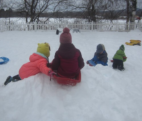 "sledding down the ""big"" hill"