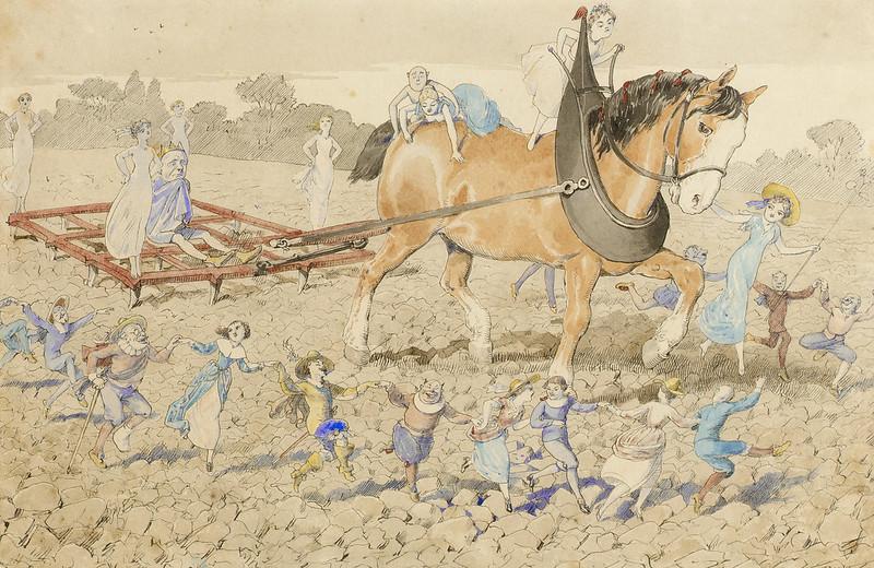 Charles Altamont Doyle - Fairy folk celebrating around the plough