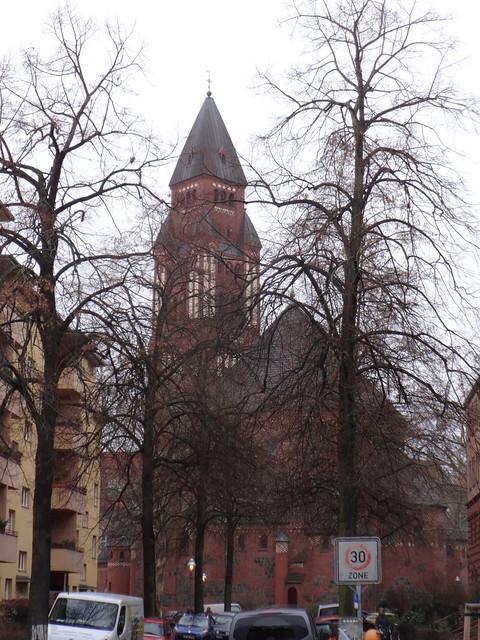 1913/14 Berlin neoromanische katholische Kirche St. Marien (Unbefleckte Empfängnis) von Christoph Hehl/Carl Kühn 60mH Bergheimer Platz 2a in 14197 Wilmersdorf