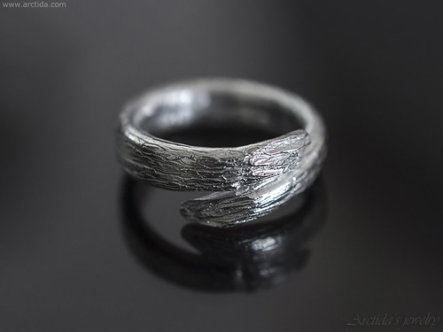 Karya - Tree bark textured open ring band. Hand carved Sterling silver twig ring. Handmade unique rings by Arctida.