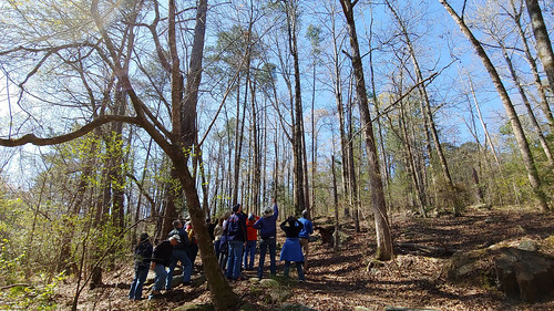 Visitors on a guided birding hike.