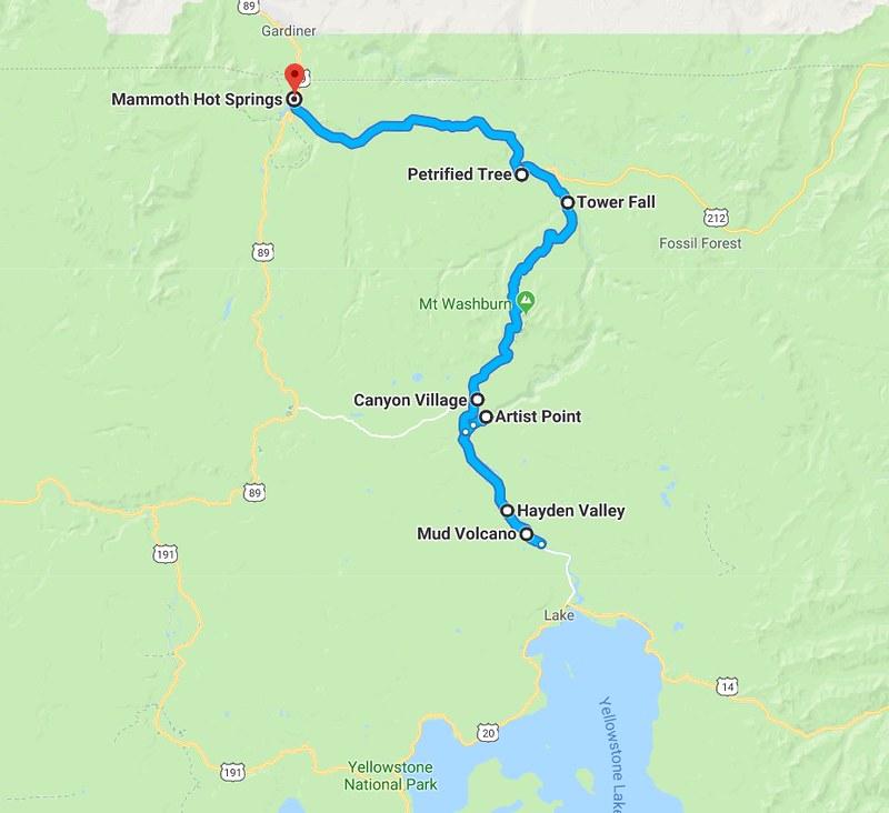 Yellowstone, toisen päivän reitti