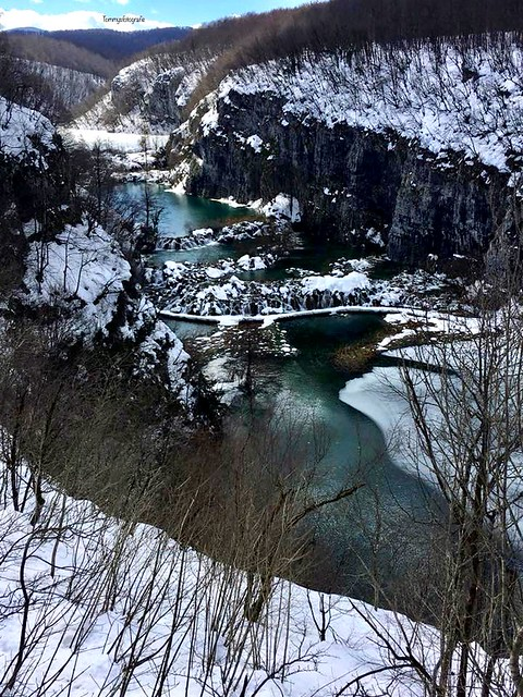 View in the valley and in the back a frozen lake in Plitvice Nationalpark, Croatia