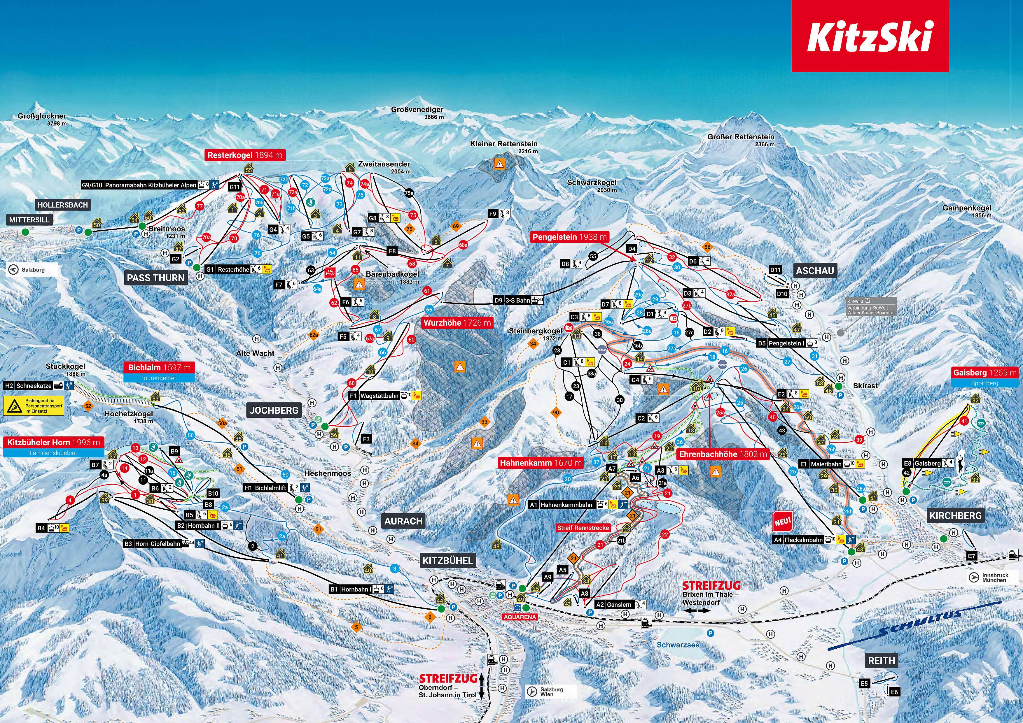 Plano de pistas Kitzbuhel