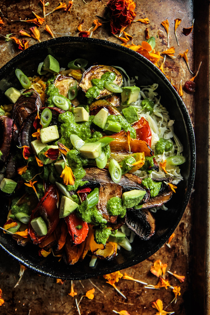 Vegan Roasted Veggie Rice Bowl with Black Beans and Cilantro Sauce from HeatherChristo.com