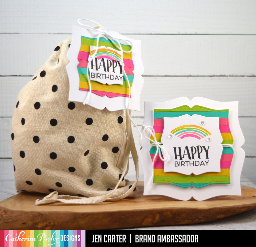 Picture Frame Dies Geo Curves So Happy Sentiments Bag Card Duo JDC 1