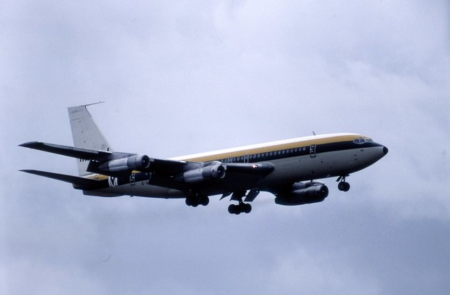 G-AZKM Monarch Airlines Boeing 720-051B on finals to runway 26 at London Gatwick
