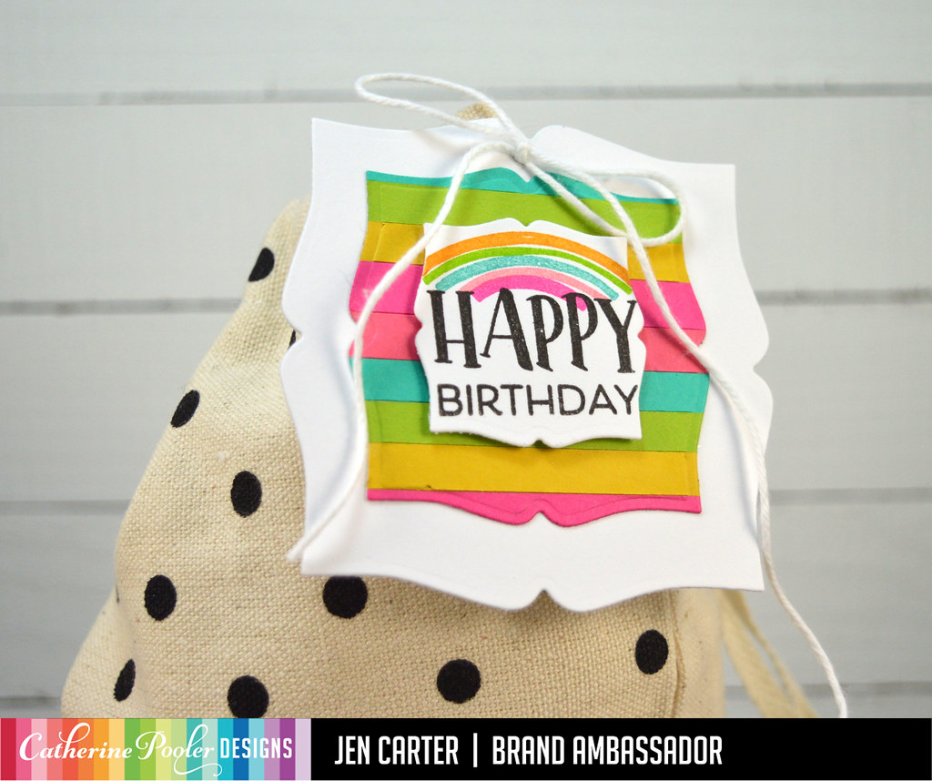 Picture Frame Dies Geo Curves So Happy Sentiments Bag Card Bag Tag JDC