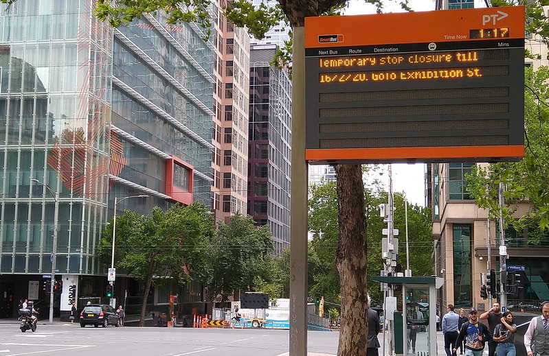 Smartbus sign advising of Bus diversions on Lonsdale Street