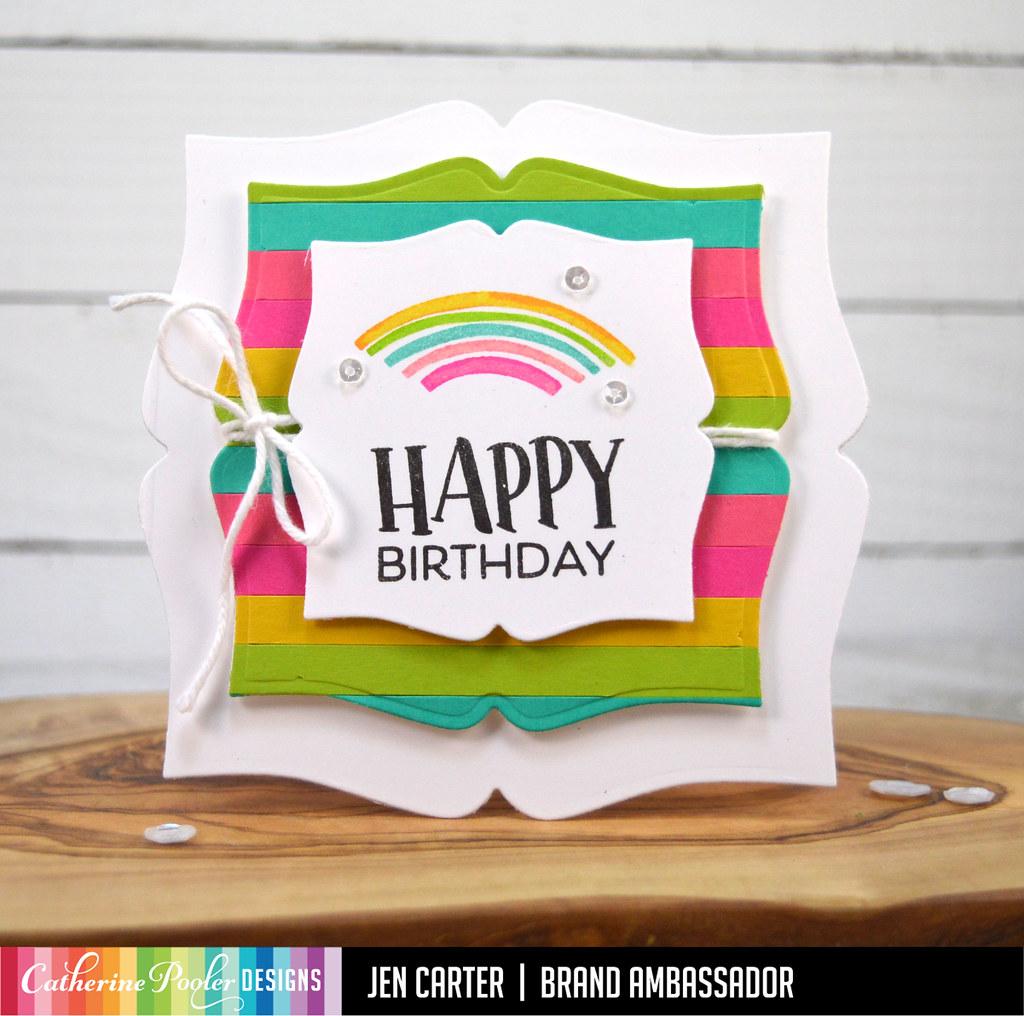 Picture Frame Dies Geo Curves So Happy Sentiments Bag Card JDC