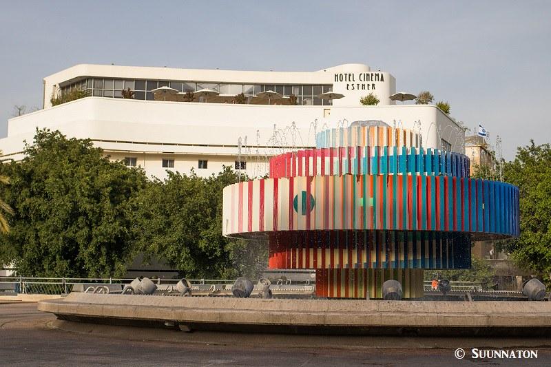Israel, Tel Aviv, Bauhaus-arkkitehtuuri, suihkulähde