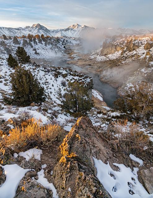 Winter sunrise at Hot Creek