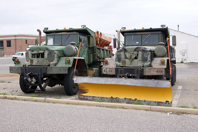 A pair of M817s former US ARMY ex:(Missouri NG 1140th Engr BN.) retrieved from the Bone yard by the US NAVY. And used as plow trucks for Lakehurst NEC. The trucks were scraped after the base became Joint Base MDL and the Air Force become parent command.