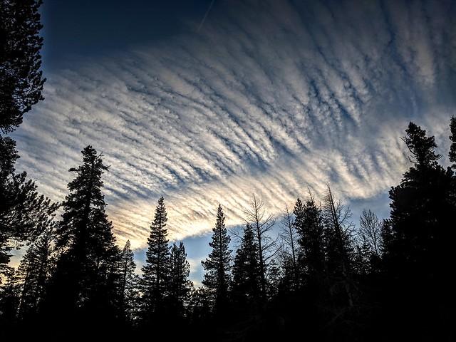 Early sunset over McKinney Creek on the West shore of Lake Tahoe. Tahoma, El Dorado County, California, U.S.A.