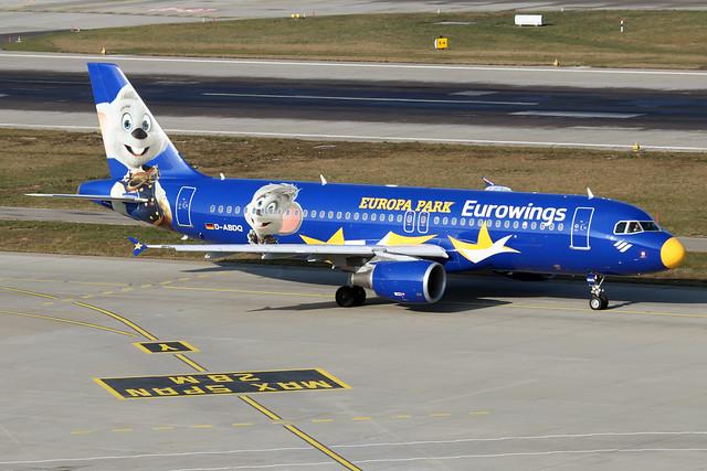 D-ABDQ  -  Airbus A320-214  -  Eurowings  (Europa Park colours)  -  ZRH/LSZH 21-1-20