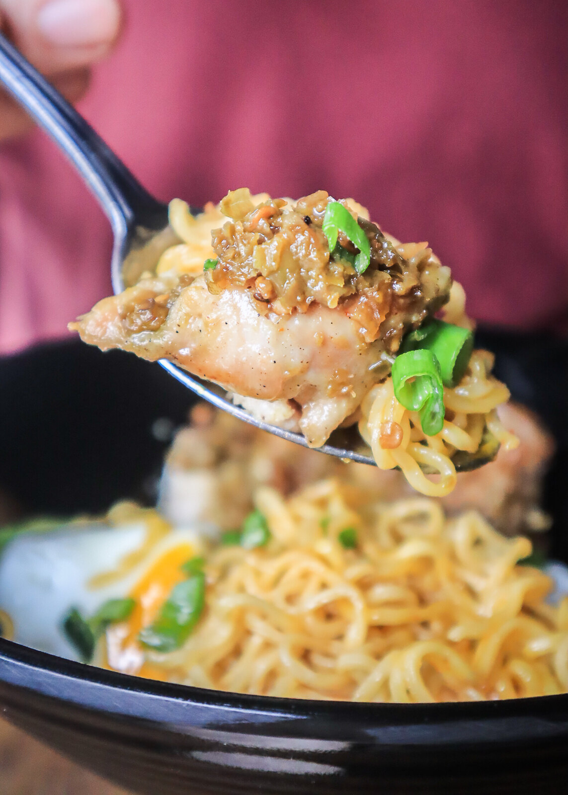 indobowl chicken on spoon