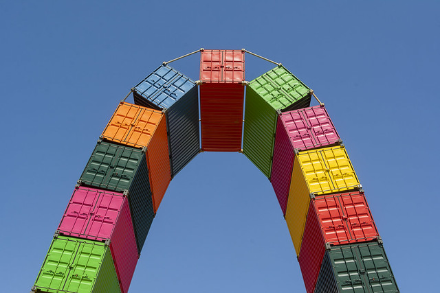 Archway of shipping containers