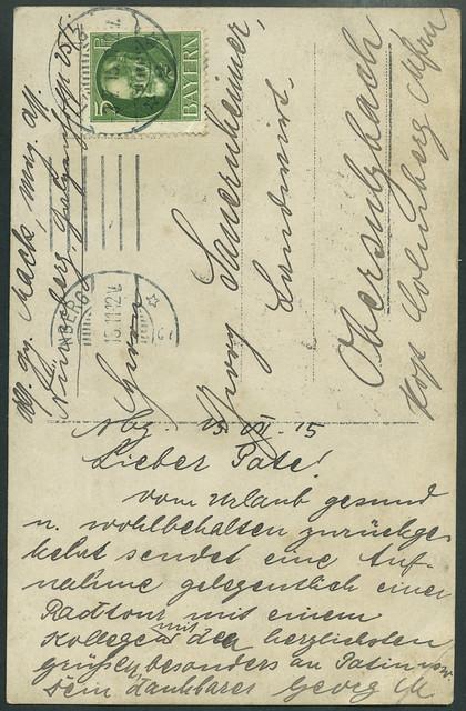 ArchivV61 Radtour (back), Georg Mack, Nürnberg, 23. Juli 1915