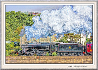 """""""Jacoblte"""" train departing from Fort William."""
