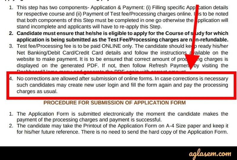 AMU 2020 application form correction