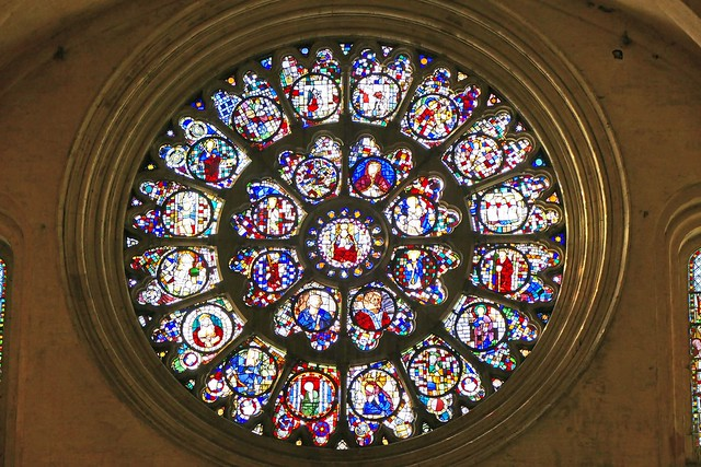 France, la grande Rosace de la Cathédrale St Étienne à Toulouse