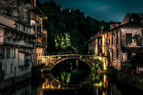 Basque bridge at night