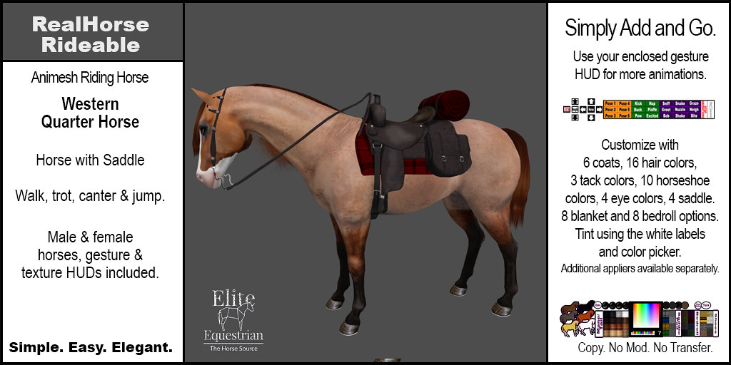Elite Equestrian Animesh RealHorse Rideable Quarter Horse Western Style