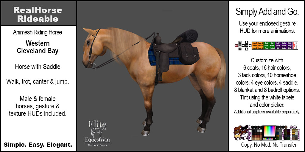 Elite Equestrian Animesh RealHorse Rideable Cleveland Bay Western Style