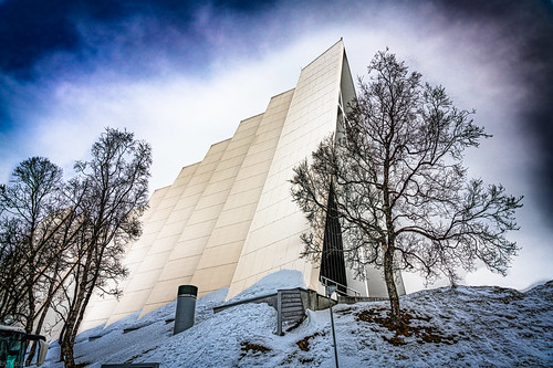 A bare tree in front of the Arctic Cathedral in Tromso, Norway - 70a