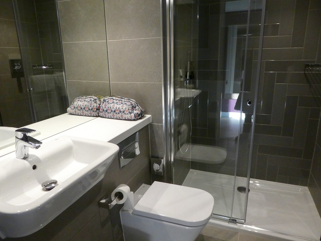Our spacious suite at Roomzzz York City, Bathroom view