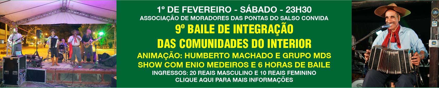 Dia 1º de fevereiro, 9º Baile de Integração das Comunidades do Interior, nas Pontas do Salso
