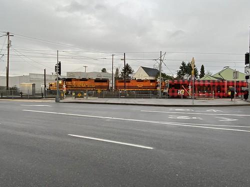 A P&W train and a northbound interurban cross 11th&12th