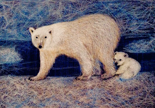 Study of Polar Bear and Cub. Coloured pencil drawing on black card by jmsw.