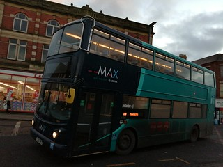 Arriva Northumbria 7424 arriving  into Blyth on the X7 with it's display boards set for it's next trip, the 16:10 X9 to Newcastle